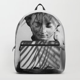 Shadowy Woman - Black and White Photography Backpack