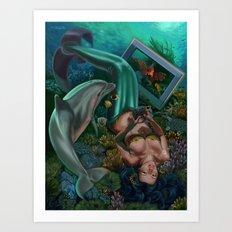 Level 12, Fathom 10: Mermaid Playing Video Games Art Print