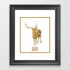 Old School Rocks! Gold Deer Version Framed Art Print