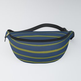 Slate Blue and Antique Green Gold Stripes Fanny Pack