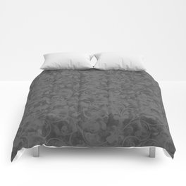 Modern Farmhouse Gray Damask Print Flower Vine on Weathered Background Comforters