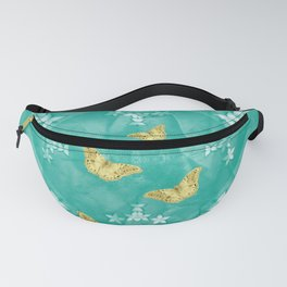 Gold butterflies and silver flowers on a textured teal mandala Fanny Pack