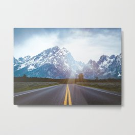 Mountain Road - Grand Tetons Nature Landscape Photography Metal Print