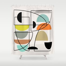 "Mid Century Modern ""Bowls"" Shower Curtain"