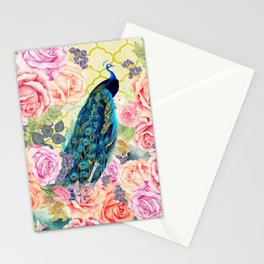 Pink bohemian roses floral vintage peacock quatrefoil Stationery Cards