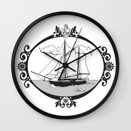 Sailing Ship Oval Wall Clock