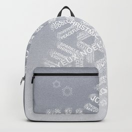 Typographic Snowflake Greetings - Silver Grey Backpack