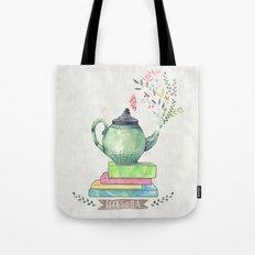 Books & Tea Watercolor Tote Bag