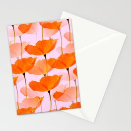 Orange Poppies On A Pink Background #decor #society6 #buyart Stationery Cards