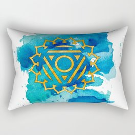 Throat Chakra Watercolour Painting Rectangular Pillow