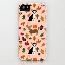 Chihuahua fall autumn pumpkin acorn dog breed chihuahuas pet pattern iPhone Case