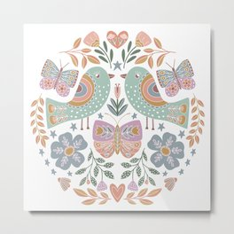 Colorful Folk Birds Metal Print