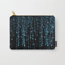 Matrix Binary Blue Code Carry-All Pouch