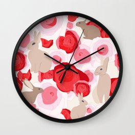 Rabbits in the Roses Wall Clock