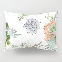 Succulents Mint Green Lavender Lilac Coral Violet Pattern Pillow Sham