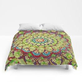Mandala on copper plate 4 Comforters