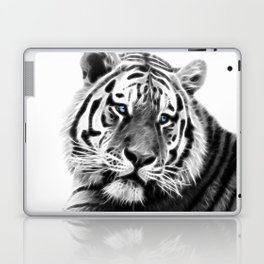 Black and white fractal tiger Laptop & iPad Skin