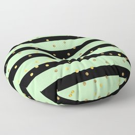 Christmas Golden confetti on Black and Mint Green Stripes Floor Pillow