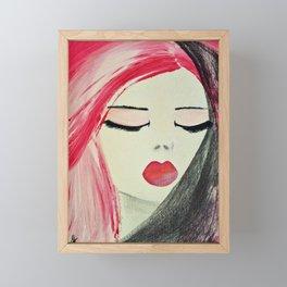 Shy Girl. Abstract Pink Girl. Pink Lips. Pink Hair. Jodilynpaintings. Eyelashes. Gift for All Girls. Framed Mini Art Print