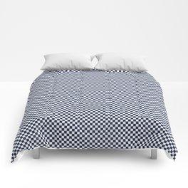 Dark Sargasso Blue and White Mini Check 2018 Color Trends Comforters