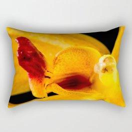 Orange Orchid On Black 3 Rectangular Pillow