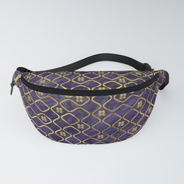 Gold Chinese Double Happiness Symbol pattern on amethyst Fanny Pack