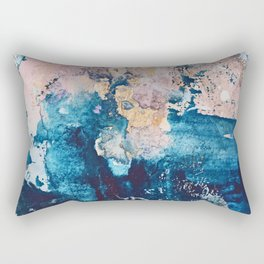 Breathe Again: a vibrant mixed-media piece in blues pinks and gold by Alyssa Hamilton Art Rectangular Pillow