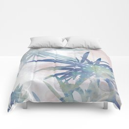 Navy Blue and Blush Pink Palm Leaf Watercolor Painting Comforters