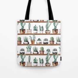 Cactus Shelf Rose Gold Green Tote Bag