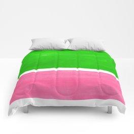 Colorful Bright Minimalist Rothko Color Field Midcentury Vintage Pop Art Petal Pink Leaf Green Comforters