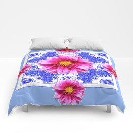 Abstracted Blue Art Fuchsia Dahlias Geometric Stylized Floral Comforters