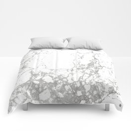 Gray white abstract modern marble pattern Comforters