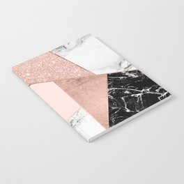 Modern rose gold glitter black white marble geometric color block Notebook