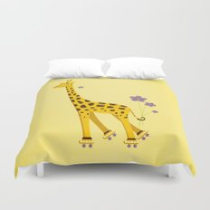 Yellow Funny Roller Skating Giraffe Duvet Cover