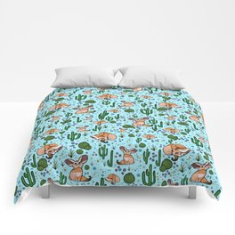 Fennec Foxes in Blue Comforters