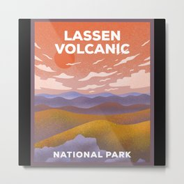 Lassen Volcanic National Park - Retro Sunset Metal Print