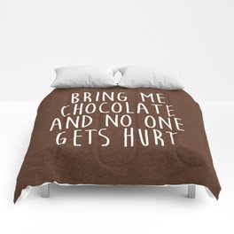 Bring Me Chocolate Funny Quote Comforters