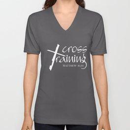 Christian Design - Cross Training - Bible Verse- Matthew 16:24 Unisex V-Neck