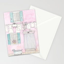 Venice Pink and White Washing Day Fun Stationery Cards