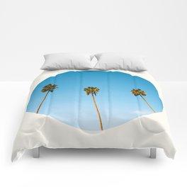 Mid Century Modern Round Circle Photo Minimalist Palm Trees Against Blue Sky Comforters