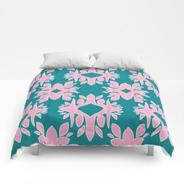 Katherine - Digital Symmetrical Abstract in Pink and Teal Comforters