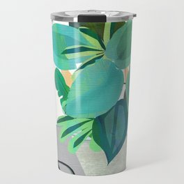 Jungle house plant in a pot collection of leaves Travel Mug