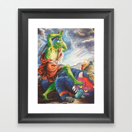 Kermit Slaying His Pet Monster Framed Art Print