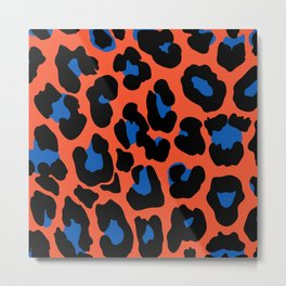 Animal Pattern With Classic Blue Color Details Metal Print