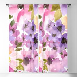 Pink Purple Watercolor Flowers Blackout Curtain