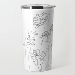 Minimal Line Art Woman with Flowers III Travel Mug