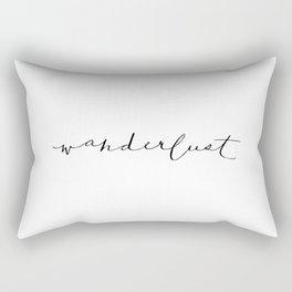 'Wanderlust' Calligraphy Hand Lettering Rectangular Pillow
