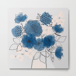 Blue Floral Bouquet Metal Print