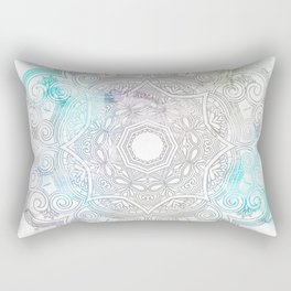 abstract gray and turquoise mandala design in minimal style Rectangular Pillow