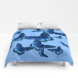 DECORATIVE PATTERNED BLUE on BLUE  BUTTERFLY FLOCK Comforters